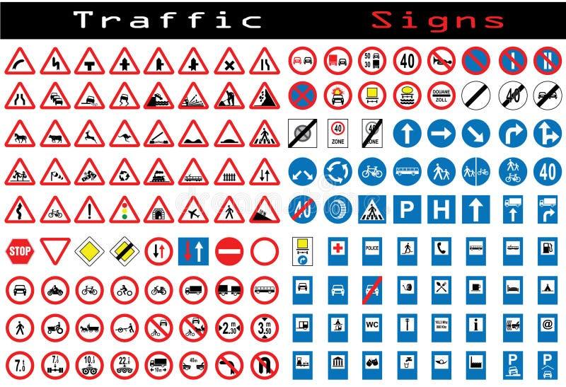 Colección de la señal de tráfico stock de ilustración