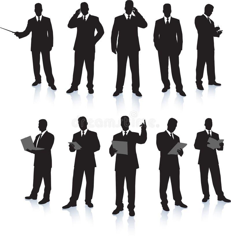 Colección de la silueta del hombre de negocios ilustración del vector