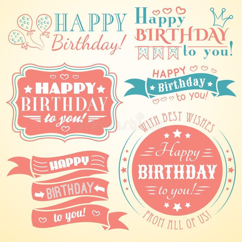 Colección de la tarjeta de felicitación del feliz cumpleaños en día de fiesta ilustración del vector