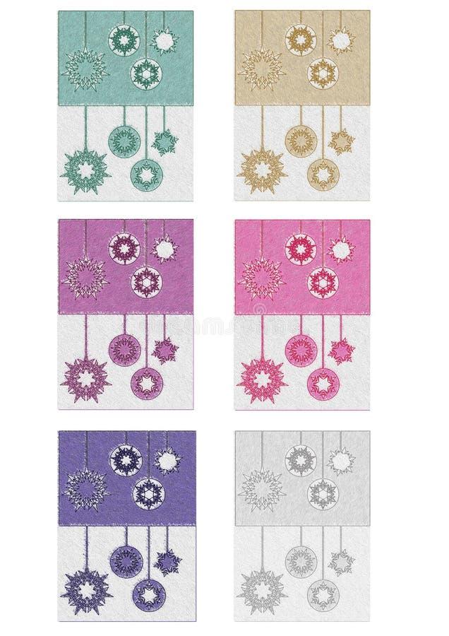 Colección de la tarjeta de Navidad en estilo del gráfico de lápiz fotografía de archivo