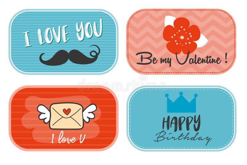 Colección de la tarjeta de felicitación/sistema de las etiquetas del amor y de las etiquetas del cumpleaños/tarjetas del día de t stock de ilustración