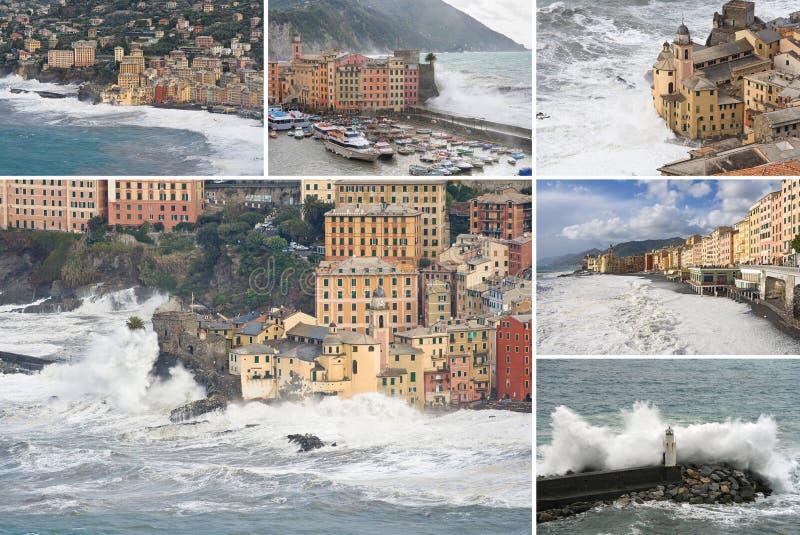 Colección de la tormenta del mar de Camogli fotografía de archivo