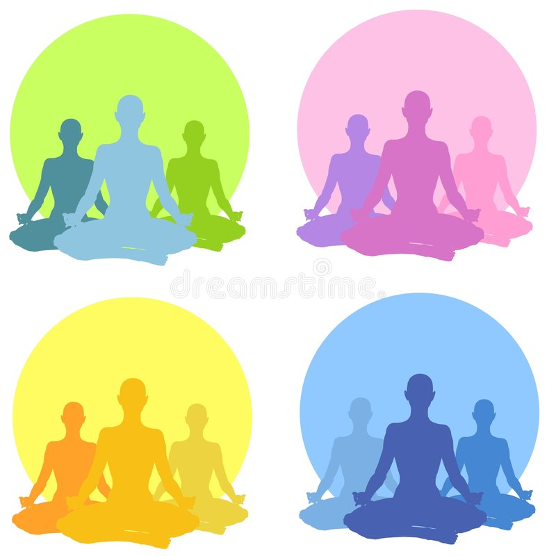 Colección de la yoga de la posición sentada stock de ilustración