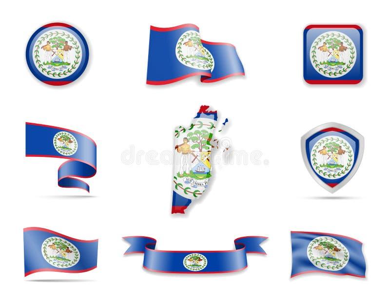Colección de las banderas de Belice El ejemplo del vector fij? banderas y el esquema del pa?s libre illustration