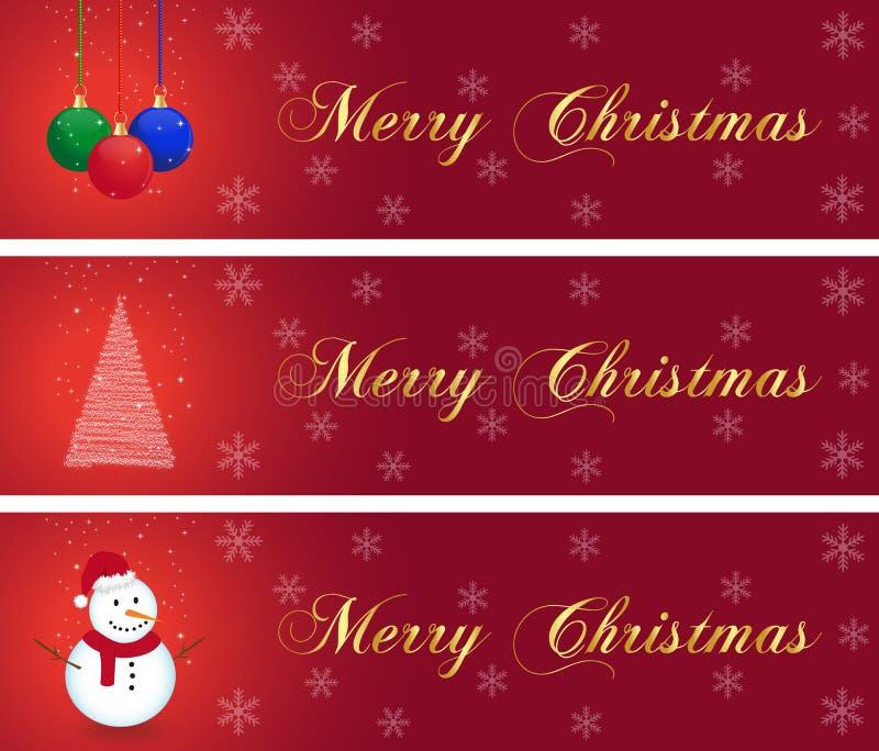 Colección de las banderas de la Navidad stock de ilustración