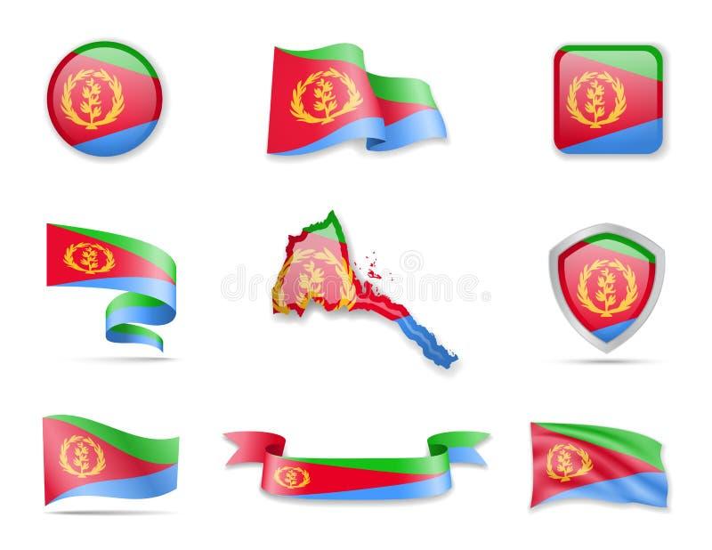 Colección de las banderas de Eritrea El ejemplo del vector fij
