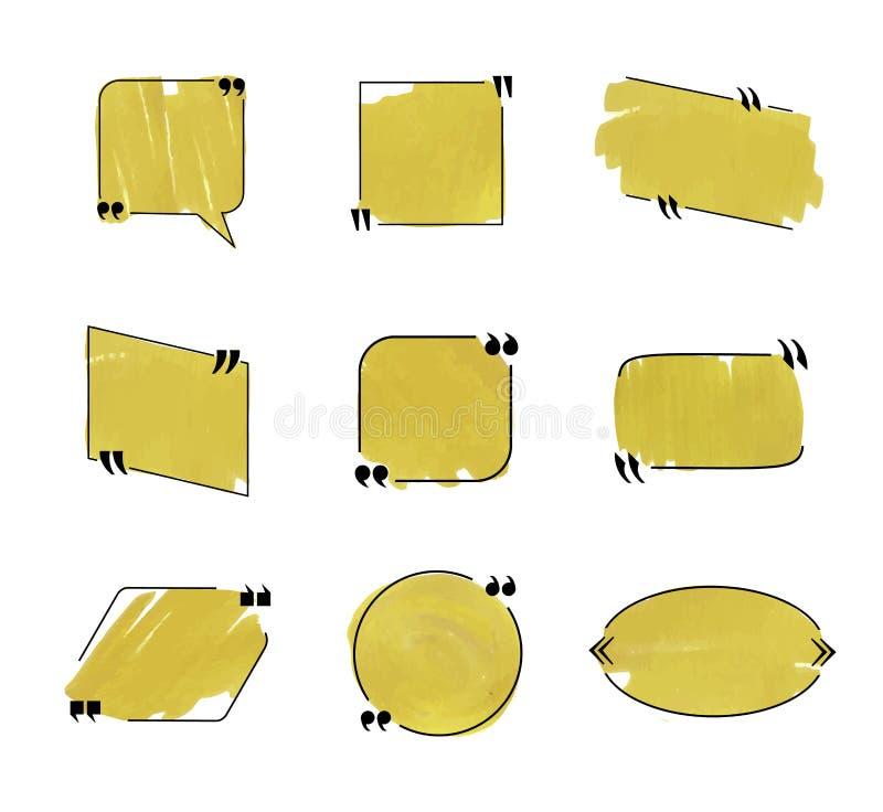 Colección de las burbujas del discurso del vector, líneas negras y colorante de oro del marcador, marcos fijados ilustración del vector