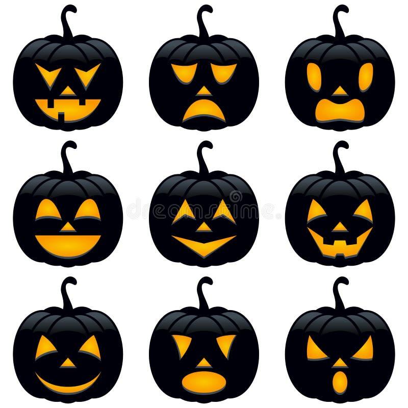 Colección de las calabazas del negro de Halloween ilustración del vector