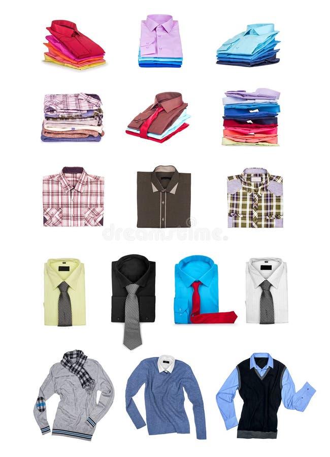 Colección de las camisas y de los suéteres de los hombres imágenes de archivo libres de regalías
