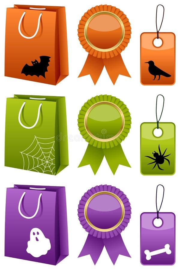 Colección de las compras de la venta de Halloween ilustración del vector