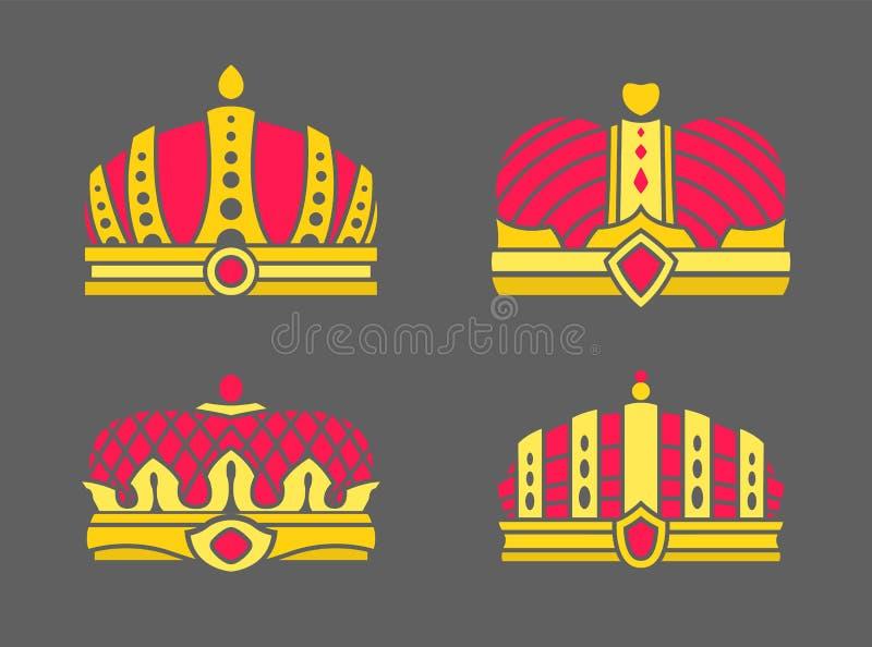 Colección de las coronas en el ejemplo del vector del color libre illustration