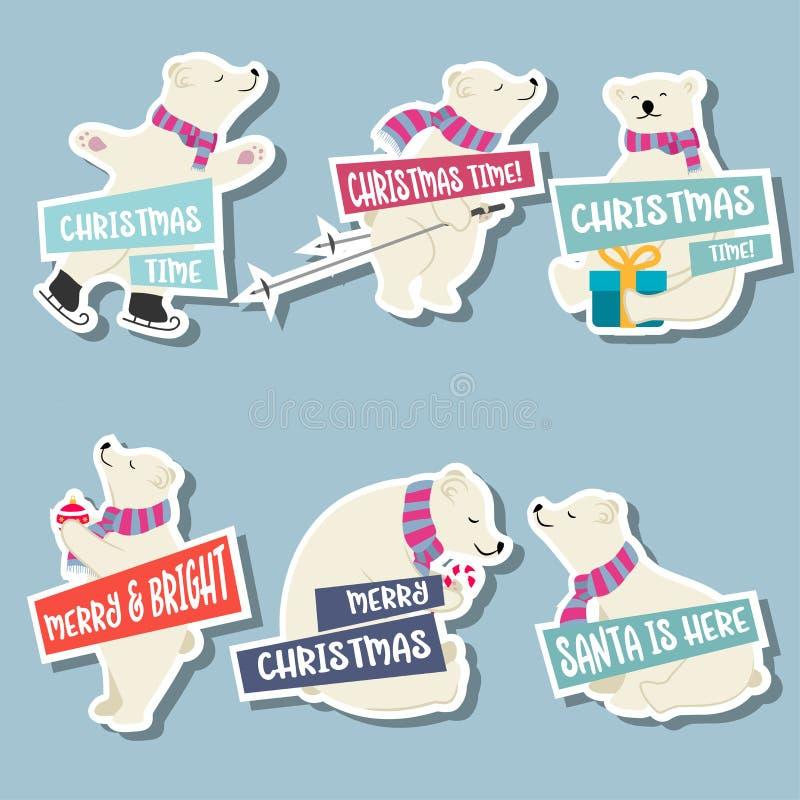 Colección de las etiquetas engomadas de la Navidad con los osos polares y los deseos stock de ilustración