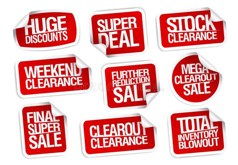 Colección de las etiquetas engomadas de la venta - descuentos enormes, super oferta, liquidación común ilustración del vector