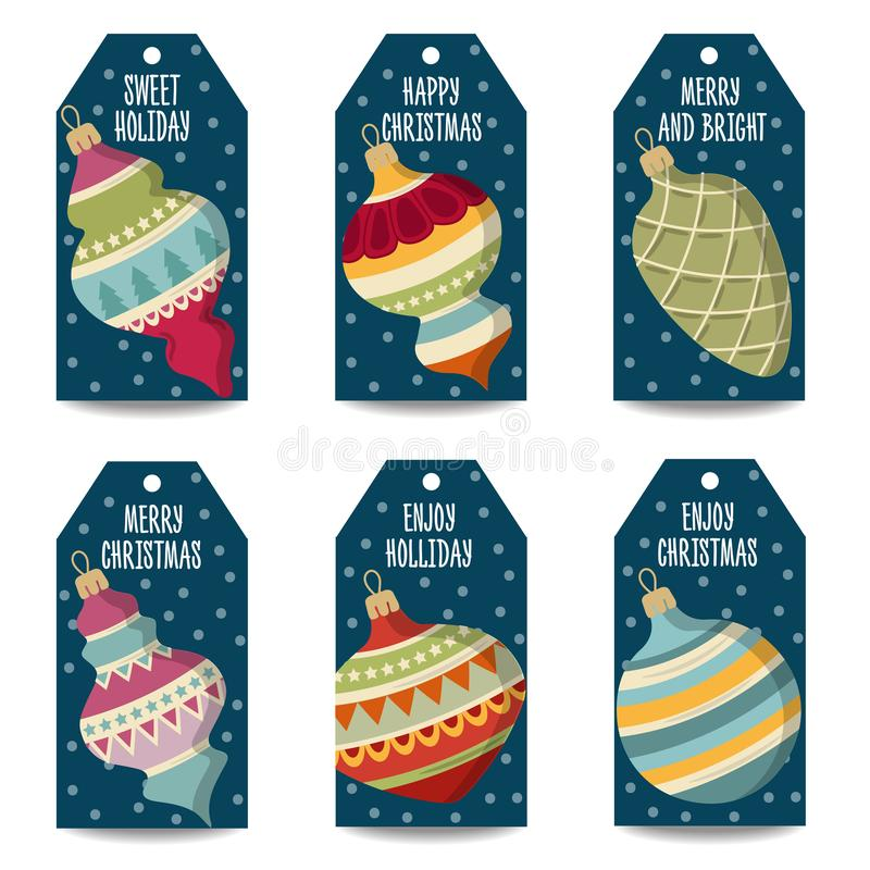 Colección de las etiquetas de la Navidad con las bolas de la Navidad, artículos aislados ilustración del vector