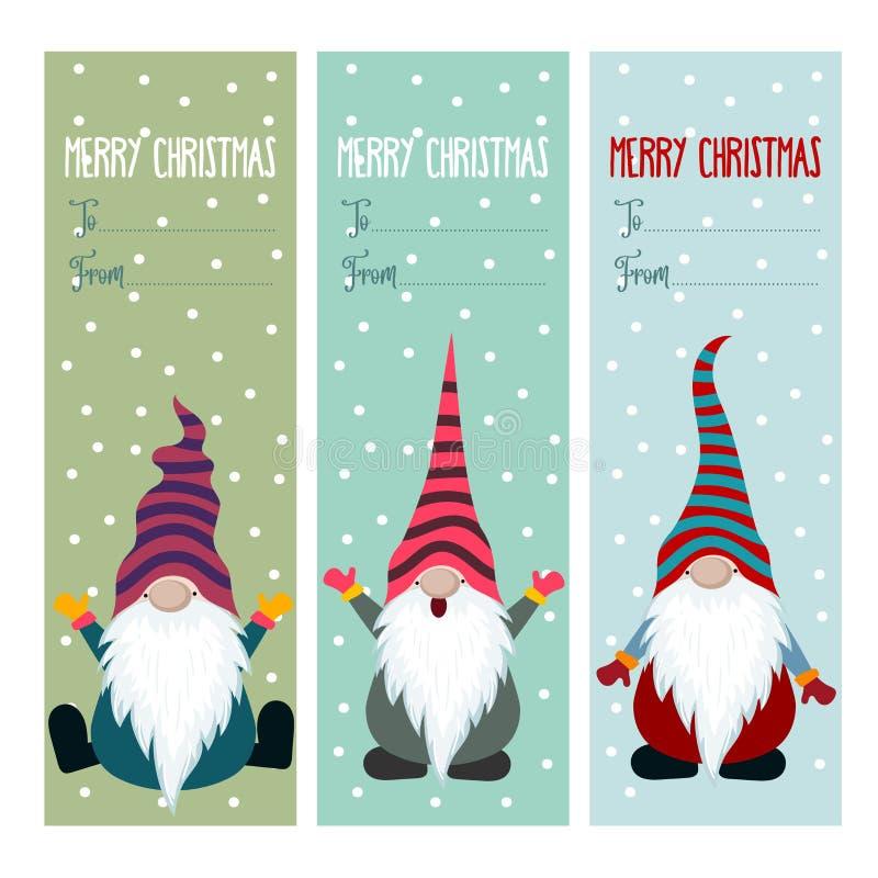 Colección de las etiquetas de la Navidad con gnomos stock de ilustración