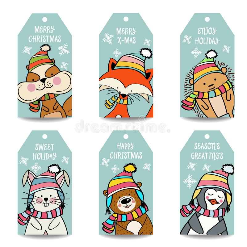 Colección de las etiquetas de la Navidad con los animales libre illustration
