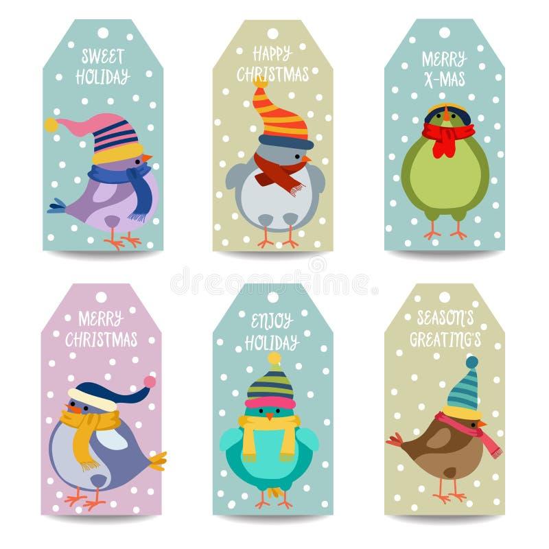 Colección de las etiquetas de la Navidad con los pájaros ilustración del vector