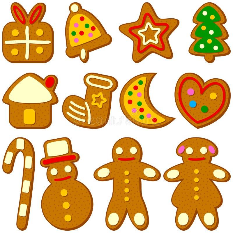 Colección de las galletas de la Navidad ilustración del vector