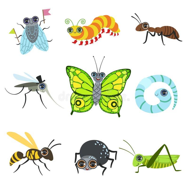 Colección de las imágenes de la historieta del insecto ilustración del vector