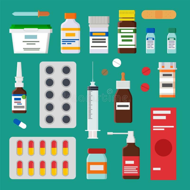 Colección de las medicinas aislada en el contexto verde ilustración del vector