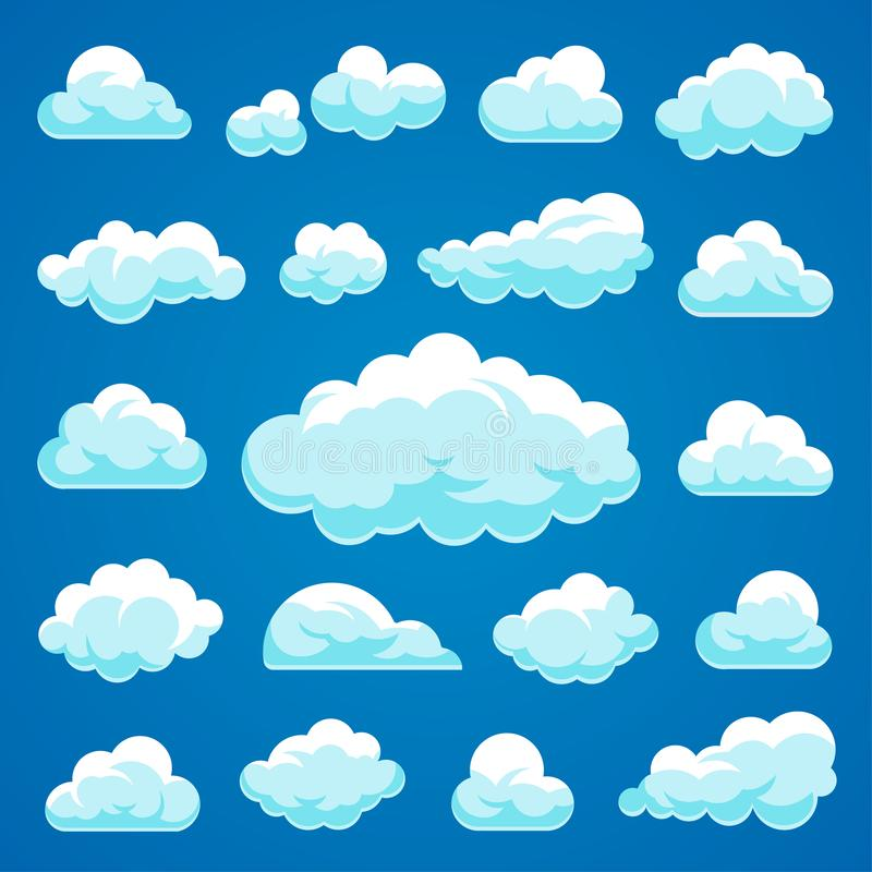 Colección de las nubes de la historieta del vector ilustración del vector