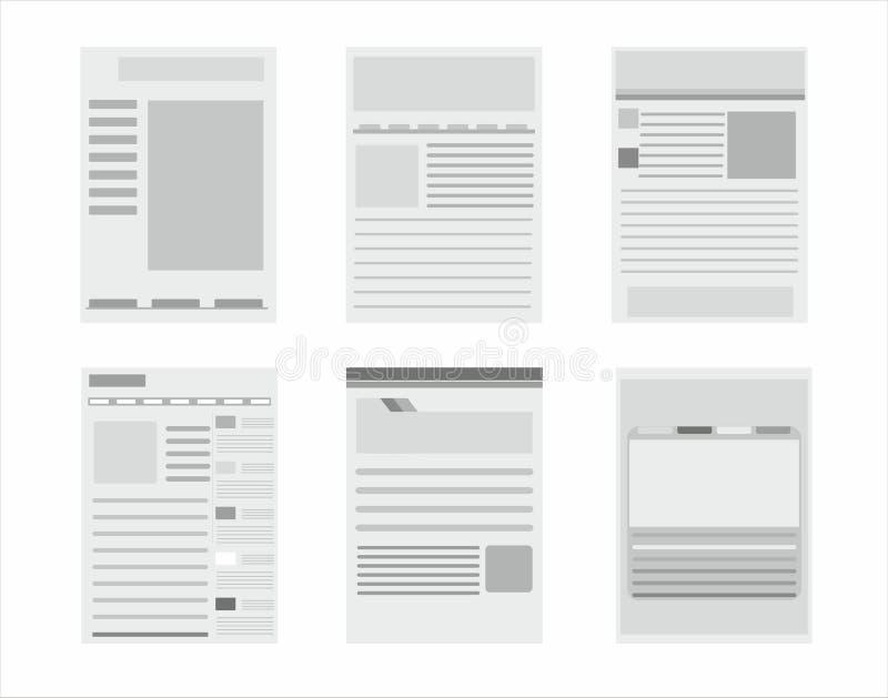 Colección de las plantillas de la página del sitio web stock de ilustración