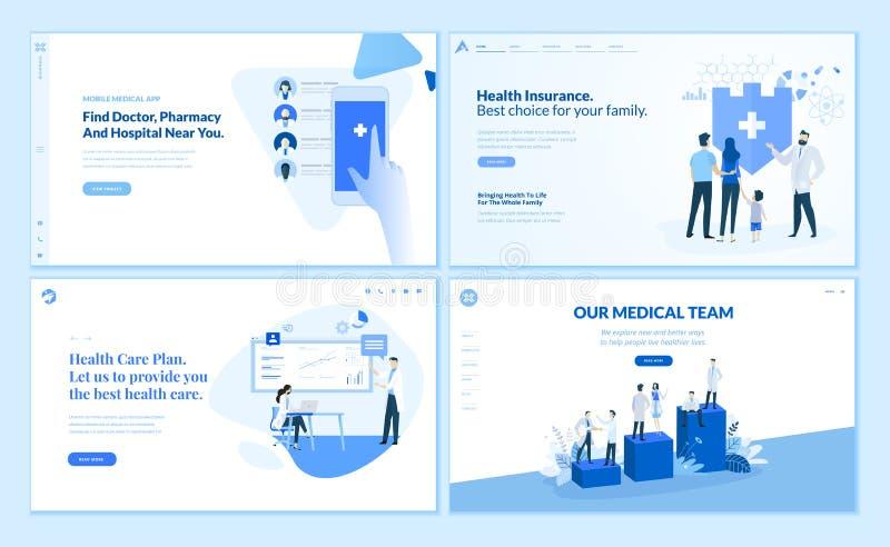 Colección de las plantillas del diseño de la página web de atención sanitaria ilustración del vector
