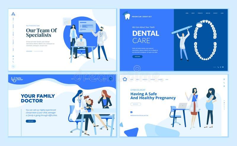 Colección de las plantillas del diseño de la página web de atención sanitaria stock de ilustración