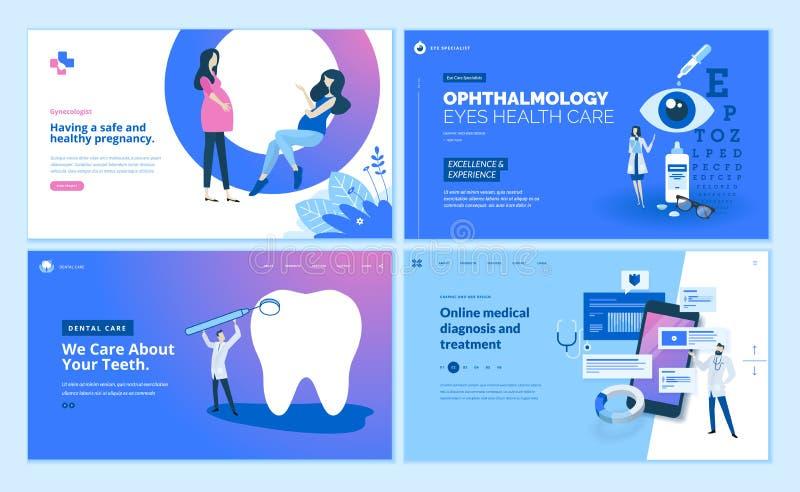Colección de las plantillas del diseño de la página web de atención sanitaria libre illustration