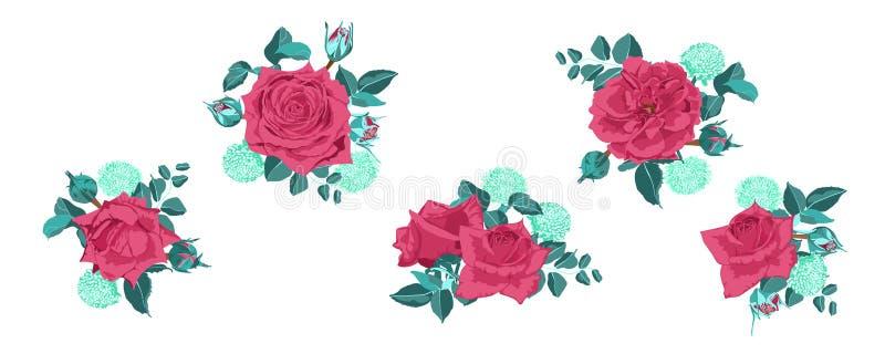 Colección de las rosas del vintage para casarse diseño libre illustration