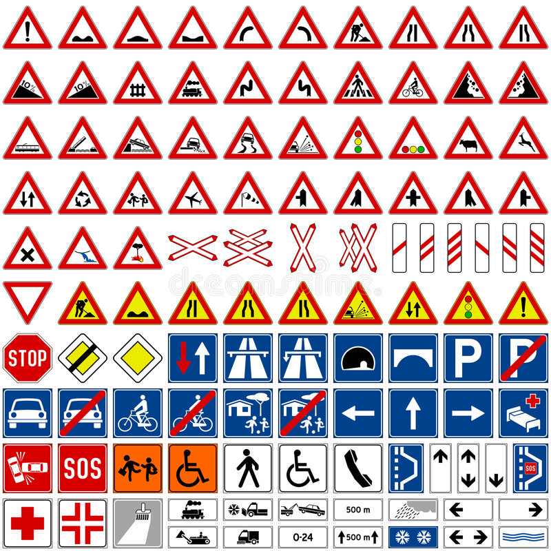Colección de las señales de tráfico [1] stock de ilustración