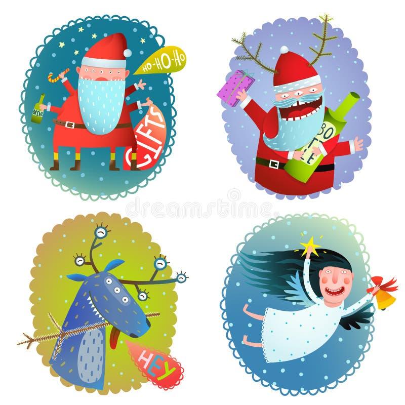 Colección de las tarjetas de felicitación de las vacaciones de invierno de la Navidad o del Año Nuevo con Santa Deer y ángel libre illustration