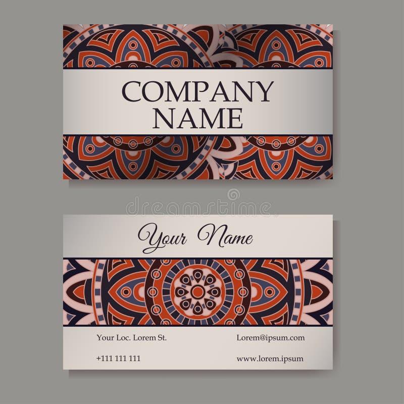 Colección de las tarjetas de visita Ornamento para su diseño con la mandala del cordón Fondo del vector Indio, árabe, adornos del stock de ilustración