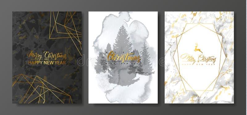 Colección de las tarjetas del lujo de la Feliz Navidad 2019 y de la Feliz Año Nuevo con textura del mármol y de la acuarela y for ilustración del vector