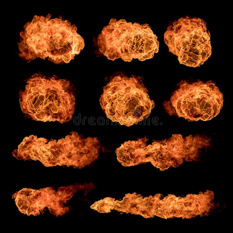 Colección de las texturas de las bolas de fuego en fondo negro imagenes de archivo