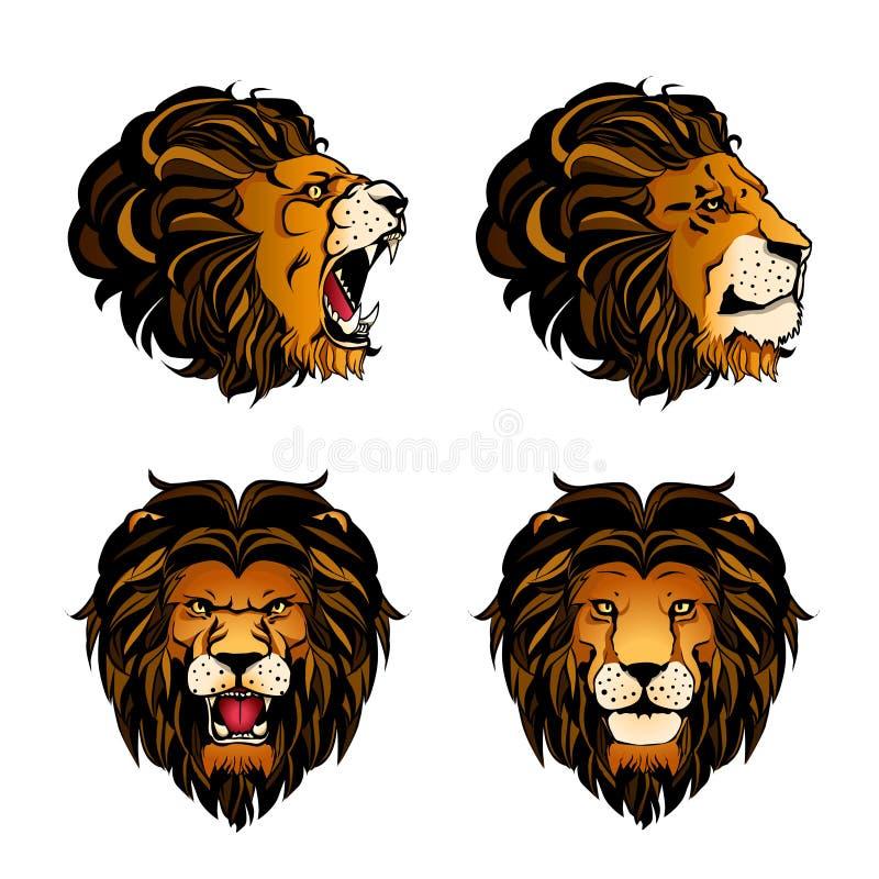 Colección de Lion Heads coloreado cuatro ilustración del vector