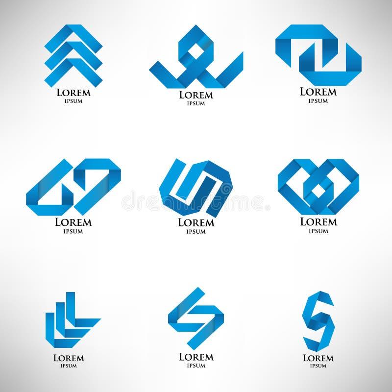 Colección de logotipo azul abstracto en estilo de la papiroflexia stock de ilustración