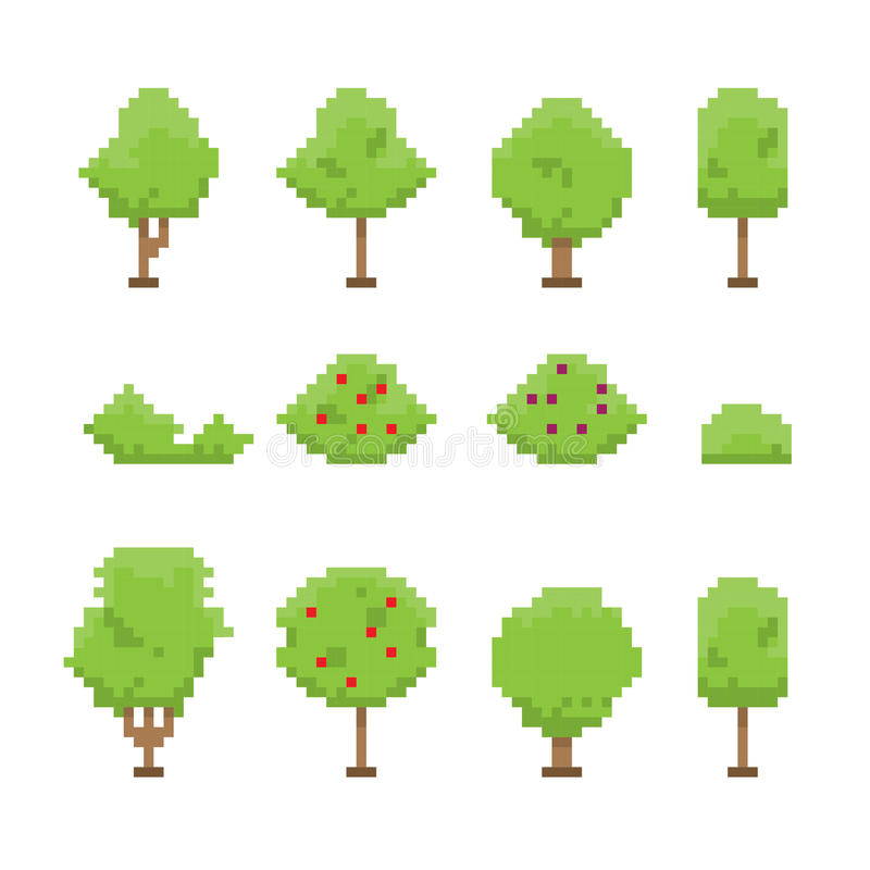 Colección de los árboles del arte del pixel en blanco stock de ilustración