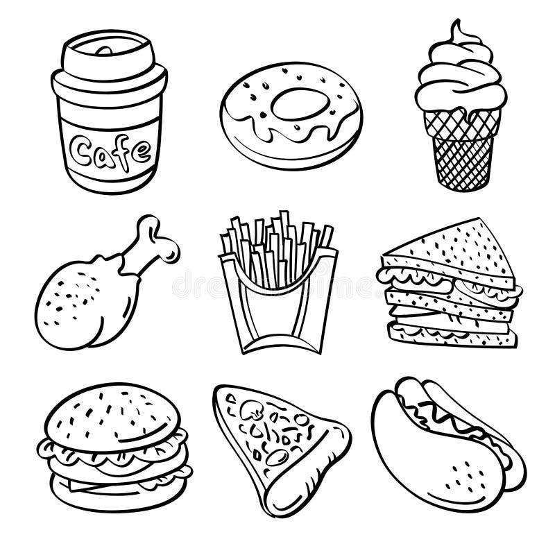 Colección de los alimentos de preparación rápida ilustración del vector