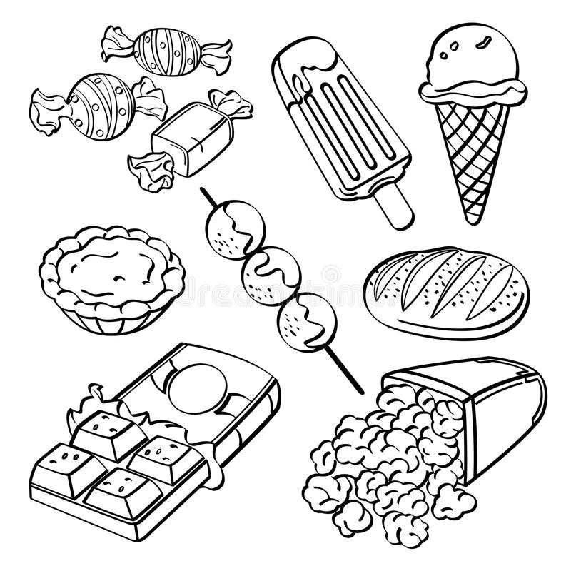 Colección de los alimentos de preparación rápida libre illustration