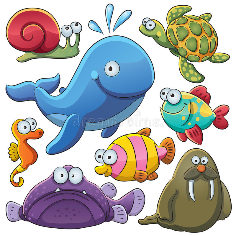 Colección de los animales de mar stock de ilustración