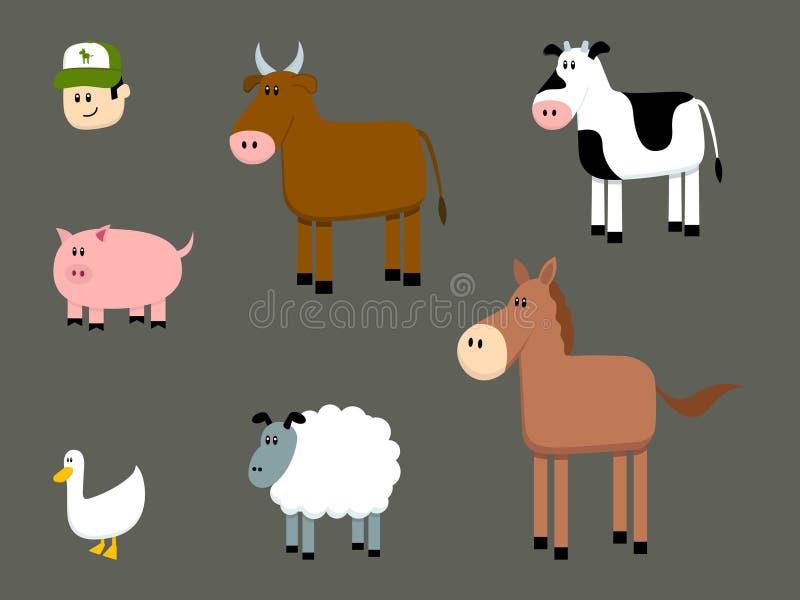 Colección de los animales del campo ilustración del vector