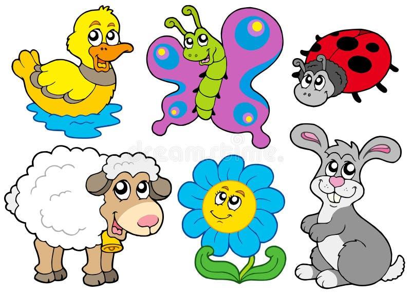 Colección de los animales del resorte stock de ilustración