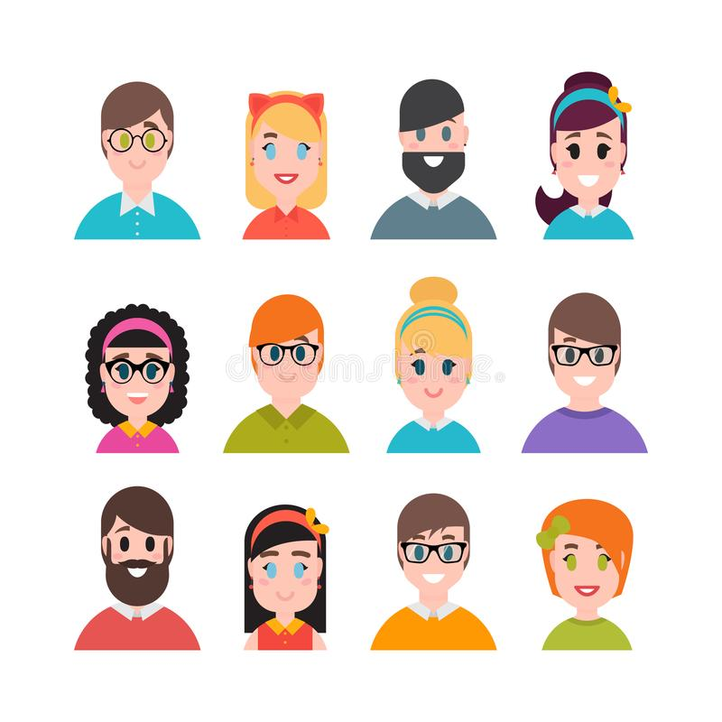 Colección de los avatares de la gente Estilo plano simple de la historieta Caracteres de los hombres, de los muchachos, de las mu stock de ilustración