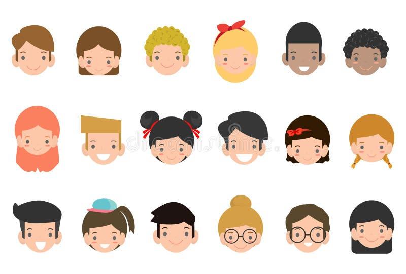 Colección de los avatares de niños lindos Ejemplo de diversos niños de las nacionalidades, sistema del vector del avatar del niño libre illustration