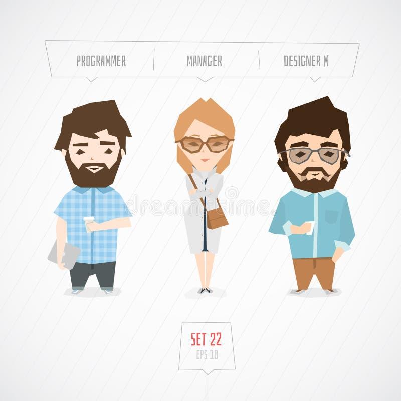 Colección de los caracteres de las profesiones stock de ilustración