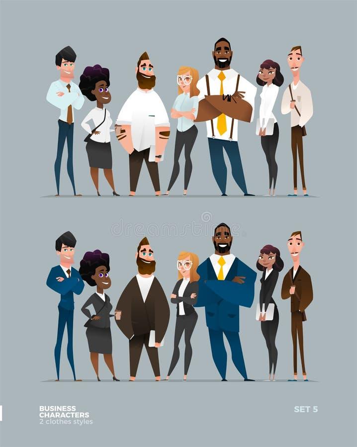 Colección de los caracteres del negocio ilustración del vector