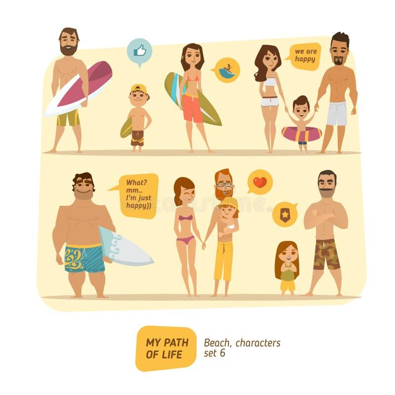 Colección de los caracteres del verano stock de ilustración
