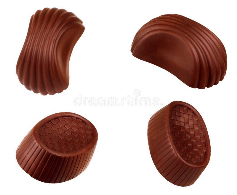 Colección de los caramelos de chocolate Aislante belga hermoso de las trufas imagenes de archivo