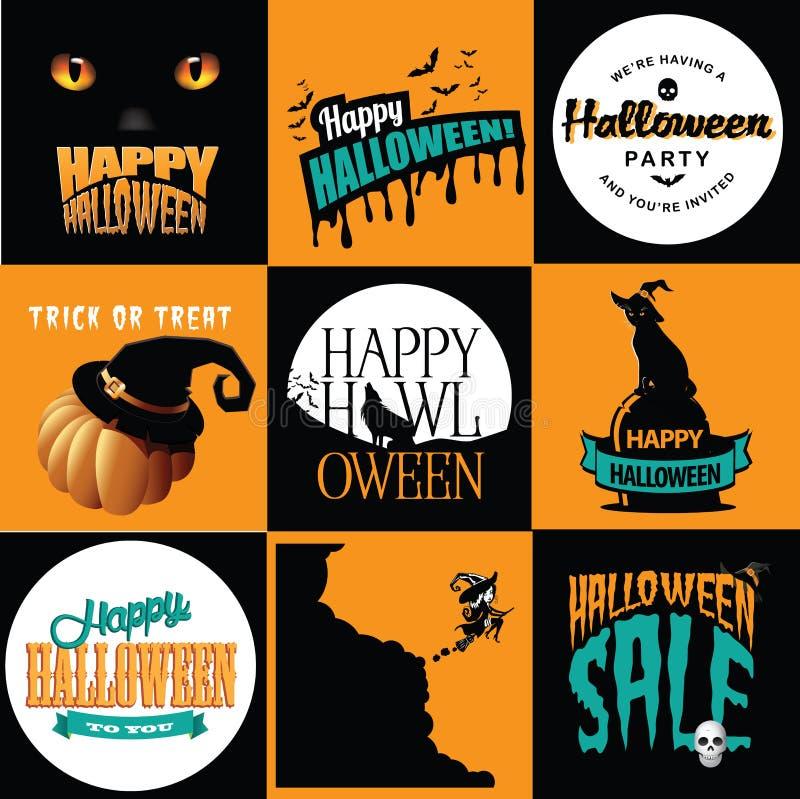 Colección de los carteles de Halloween ilustración del vector